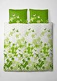 etérea Renforcé Baumwolle Bettwäsche Osaka Schmetterlinge Grün