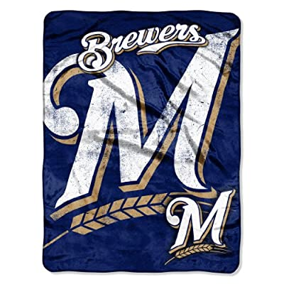MLB Milwaukee Brewers Micro Raschel Plush Throw Blanket, Trip Play Design