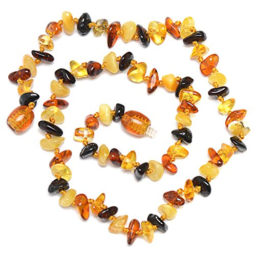 Multicolored Hand Made Baltic Amber Teething Necklace for Babies - Safety Knotted