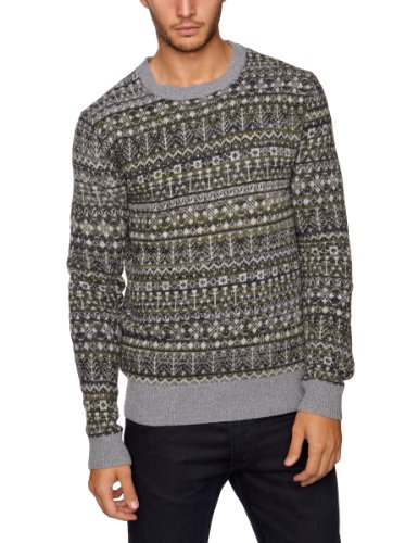 French Connection Fallow Fairisle Men's Jumper Navy Combo Large