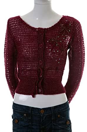 Lush Mohair Blend Knitted Long Sleeve 4 Button Sequin Sweater Wine L