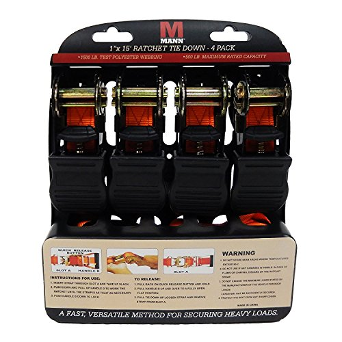 Mann Ratchet Tie Downs Straps with S-hooks 4-Pack Set 1-Inch x 15-Feet 500 Lbs Load Cap - 1500 Lb Break Strength (Appliance Truck Strap compare prices)