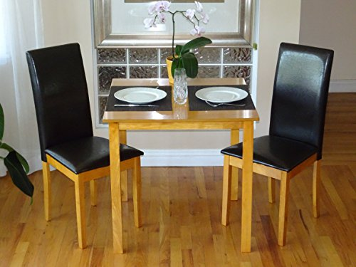 3 Pc Dining Room Dinette Kitchen Set Square Table and 2 Fallabella Chairs Maple (D Piece Kitchen Table Set compare prices)