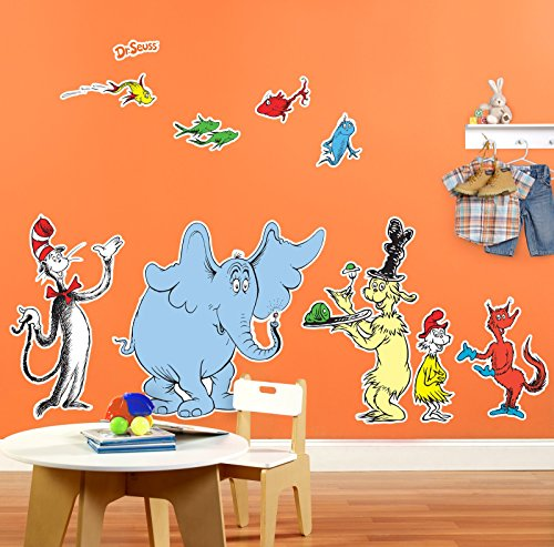 Dr Seuss Cat in the Hat Room Decor - Giant Wall Decals (Dr Seuss Characters Wall Decals compare prices)