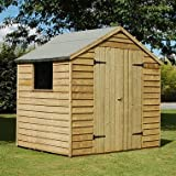 7 x 5 Pressure Treated Double Door Overlap Apex Shed