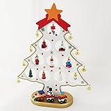 クリスマスツリー卓上木製スモールサイズ小さくてかわいい楽しいLED電飾付き木製ツリーテーブルキッチンパーティーオリジナルミニツリー(ホワイト)