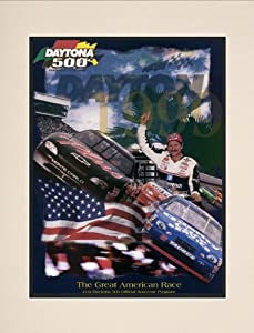 NASCAR Matted 10.5 x 14 Daytona 500 Program Print Race Year: 41st Annual - 1999 by Mounted Memories