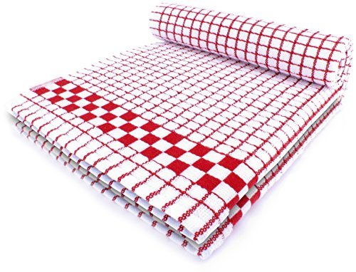 Fecido Classic Kitchen Dish Towels - Heavy Duty - Super Absorbent - 100% Cotton - Professional Grade Dish Cloths - European Made Tea Towels - Set of Two, Red (Dish Towels Made In Usa compare prices)