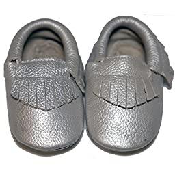 Baby Conda Handmade Silver Baby Moccasins * 100% Genuine Leather * Soft Sole Slip on Baby Shoes for Boys and Girls * 100% Money Back Guarantee Size 6 - 12 Months