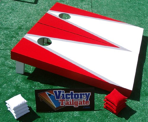 White & Red Custom Painted Cornhole Bag Toss Game Set