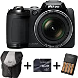 Nikon Coolpix L310 - Black + Case + 16GB Memory Card + 4xAA Battery and Charger(14.1MP, 21x Optical Zoom) 3 inch LCD