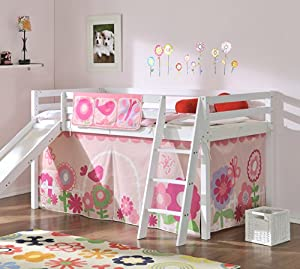 Cabin Bed in White with Slide Floral Tent 6566WG-FLORAL