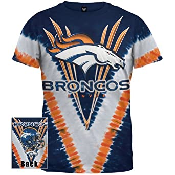 Denver Broncos - Logo V-Dye Tie Dye T-Shirt by Old Glory