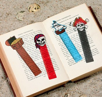 "~ 12 ~ Pirate Ruler Bookmarks ~ Approx. 5"" Long ~ Flexible Plastic ~ New ~ Treasure Chest, Skull & Crossbones, Pirate Ship, Party Favors"