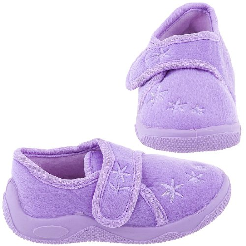 Chatties Lilac Floral Toddler Slippers for Girls | Cheap ...