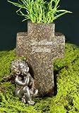 Grabvase Kreuz mit Engel, Aufschrift 'In stillem Gedenken'
