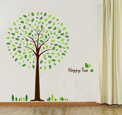 WallStickersUSA Hunnt Happy Tree Wall Sticker Decal Ideal for Kids Room Baby Nursery Living Room