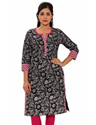 MSONS Womens Black Shadow Printed Pink Neck Medium Cotton Kurti