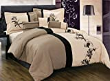Buy Discounted 7 Pieces Luxury Brown, Cream Beige with Floral Linen Comforter Set / Bed-in-a-bag King Size Bedding – Find Deals Online