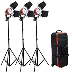 3X Professional 800w Dimmable Red Head Continuous Light Kit w/ Rolling Case and bulbs included