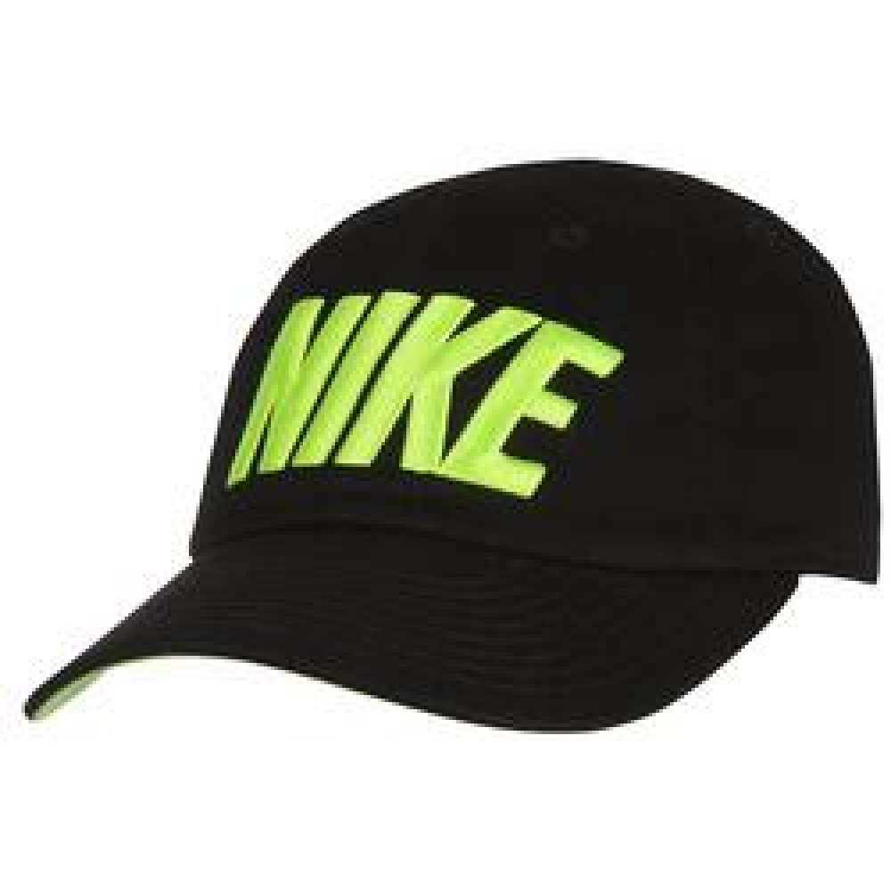 Nike Twill Baseball Cap-Little Boy's Size 2T-4T, Black/Neon