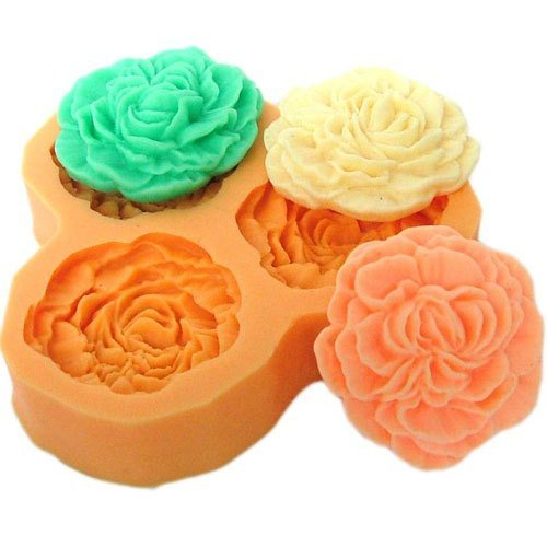 DGI MART Party Supplies Food Decorations DIY Silicone Mold Tray Silicone Decorative Cake Toppers Molds 3.3cm Small Flowers Silicone Fondant Sugar Pudding Mini Mold Craft Mold DIY Cake Cookie Decorating Mold Tray