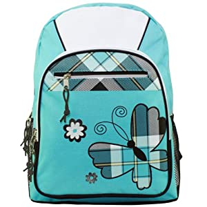 17 inch American Princess Turquoise Plaid Butterfly Student Bookbag Backpack