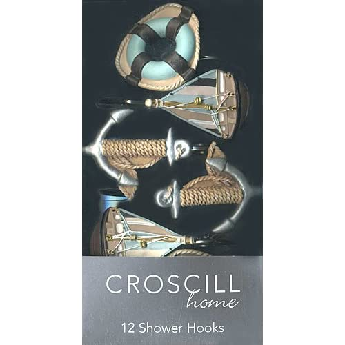 Croscill Home Sea Farer Shower Curtain Rings Set Of 12 Decorative Hooks Sailboats