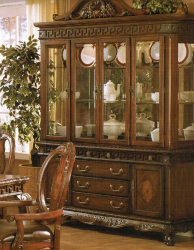Cheap China Cabinet Buffet Hutch – Medium Brown Finish (VF_F6074)