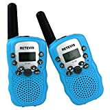 Retevis RT-388 UHF 462.5625-467.7250MHz 22CH Kids Walkie Talkie LCD Display Flashlight VOX Toy 2 Way Radio For Children 2 Pack Blue