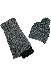 CTM® Womens Marbled Hat and Scarf Winter Set