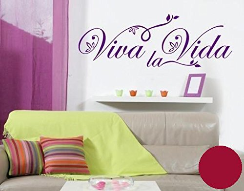 wandtattoo viva la vida floral b x h 150cm x 52cm farbe dunkelrot erh ltlich in 35 farben und. Black Bedroom Furniture Sets. Home Design Ideas
