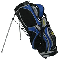 Talon Locking Stand Nylon Golf Bag, Blue with Black Top