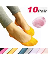 DRSKIN @10pair set Women Girls No Show Socks Silicone Invisible Low banding 10Color
