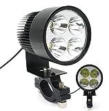 優美さトップ社 バイクヘッドライト 汎用LEDフォグランプです バイク用ライト ランプ フォグランプ 爆光 L型 フォグランプ 20W LED ヘッドライト プロジェクター LED フォグランプ 外置き バイク用LED 防水 4連LED「ブラック」