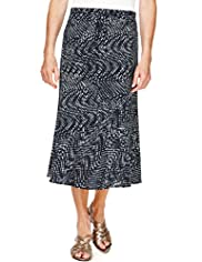 Classic Collection Textured Spotted Long Skirt with Belt