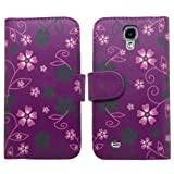 Samrick Floral Flowers Executive Specially Designed Leather Book Wallet Case with Credit Card/Business Card Holder, Screen Protector, Microfibre Cloth and Purple High Capacitive Stylus Pen for Samsung i9500 Galaxy S4/i9505 Galaxy S4/Galaxy S4 Google Play