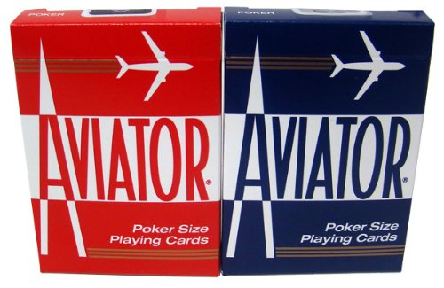 12 Decks Aviator Cards Red/Blue - Poker Size, Regular Index