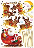 Santa Claus Flying Reindeer and Sleigh - Removable Home Decoration Wall Sticker Decal