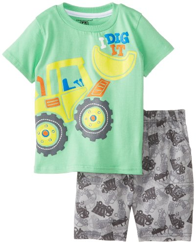 Kids Headquarters Baby-Boys Infant Tee With Gray Printed Shorts, Green, 12 Months front-658085