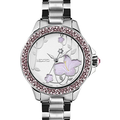 medota-saison-womens-studded-automatic-water-resistant-analog-quartz-watch-no-7801-rhododendron