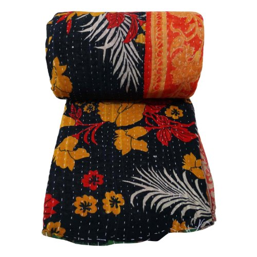 Floral Vintage Twin Size Bedspread India Ouilt Black Cotton Gudri Kantha Stitch 86 X 55 Inches front-999777