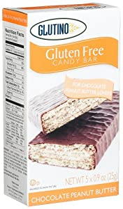 Glutino Gluten Free Candy Bars, Peanut Butter, 5-Count Bars (Pack of 4)
