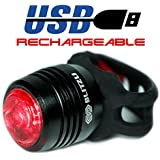 Ultra Bright LED Bike Tail Light - Blitzu RUBY USB Rechargeable Bicycle Tail Light - Super Bright LED Rear Bike Light That Fits on any Bikes, Helmets or Backpacks, Easy To Install with No Tools.