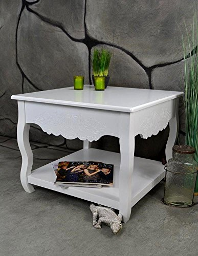 Couchtisch Beistelltisch Tisch klein antik weiß Landhaus 60 x 60 cm LV4054