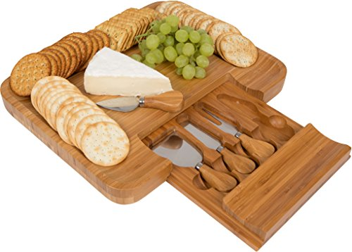 Trademark Innovations Bamboo Cheese Serving Tray with Hide-Away Utensil Set, Natural