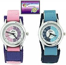 2x Relda Time Teacher Reloj de pulsera para niños, cuarzo, esfera blanca, correa de velcro, color azul o rosa
