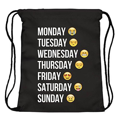 Ocona© Emoji Emoticons Smileys Turn sacchetto zaino GYMSACK Stringbag Week, Nero