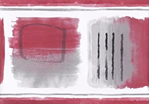 Red Grey White Black Abstract Wallpaper Border