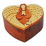 Handmade Wooden Intarsia TRICK SECRET Angel heart Puzzle Box (3237)